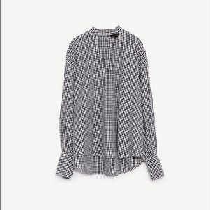 Zara Tops - Zara Gingham Voluminous Cut Out Detail Long Sleeve